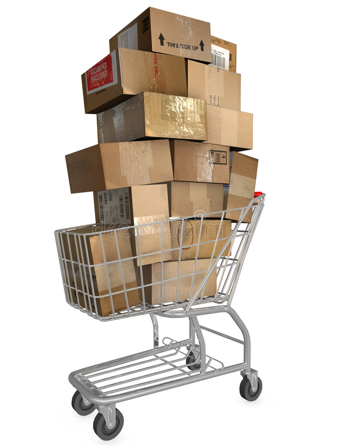 Free Shopping Cart Shipping Cartons Royalty Free Stock Images - 2768179