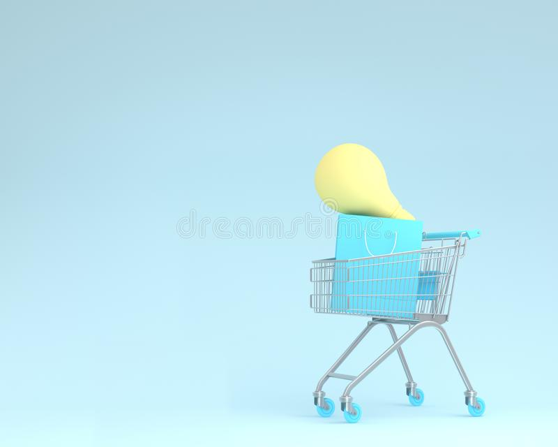 Shopping cart with shopping bags and light bulbs on blue color b. Ackground. minimal business ideas. concept of retail consumers and shoppers looking for royalty free stock photos