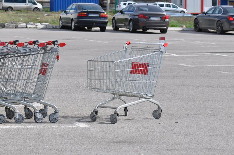Shopping cart. In a store parking lot stock photos