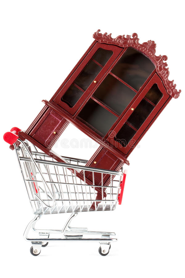 Shopping cart and sideboard royalty free stock photo