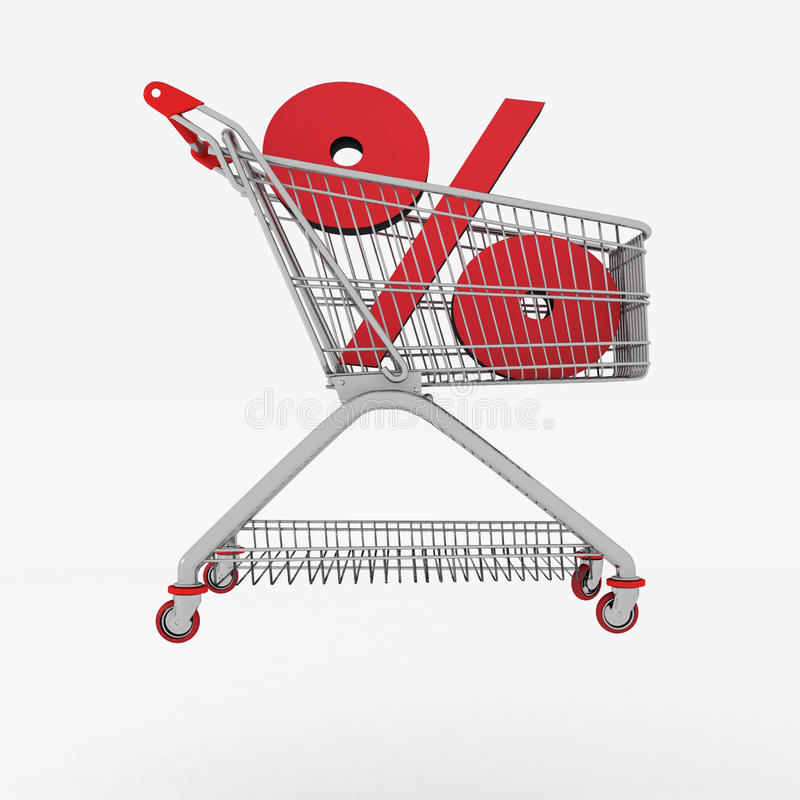 Download Shopping Cart With Sign Of Percentage Inwardly Stock Illustration - Illustration: 28903293