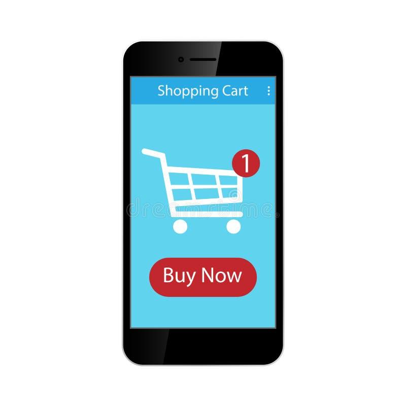 Shopping Cart on smartphone. Vector illustration. vector illustration