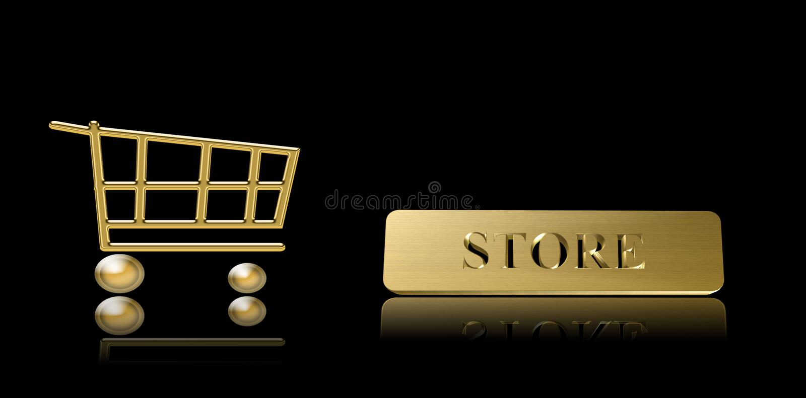 Shopping Cart And Store Written Stock Images