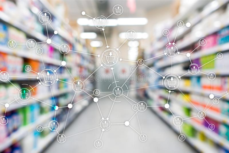 Shopping cart structure Retail marketing E-commerce blurred supermarket background. Shopping cart structure Retail marketing E-commerce blurred supermarket royalty free stock photos