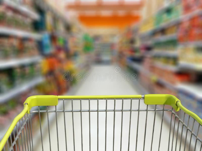 Shopping cart on supermarket store. Shopping concept stock photography