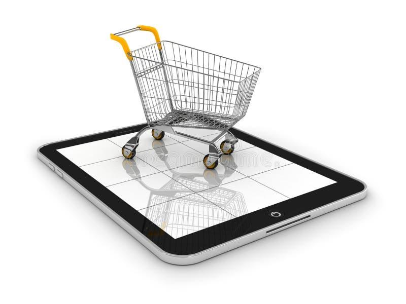 Shopping cart on Tablet PC. 3d vector illustration