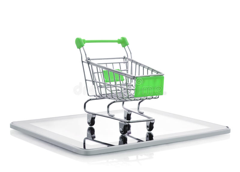 Shopping Cart On Tablet Pc Stock Photo