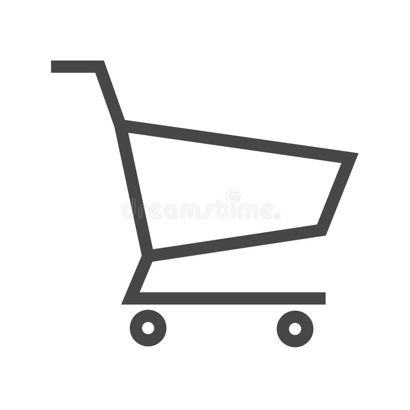 Shopping Cart Thin Line Vector Icon. Flat icon isolated on the white background. Editable EPS file. Vector illustration royalty free illustration