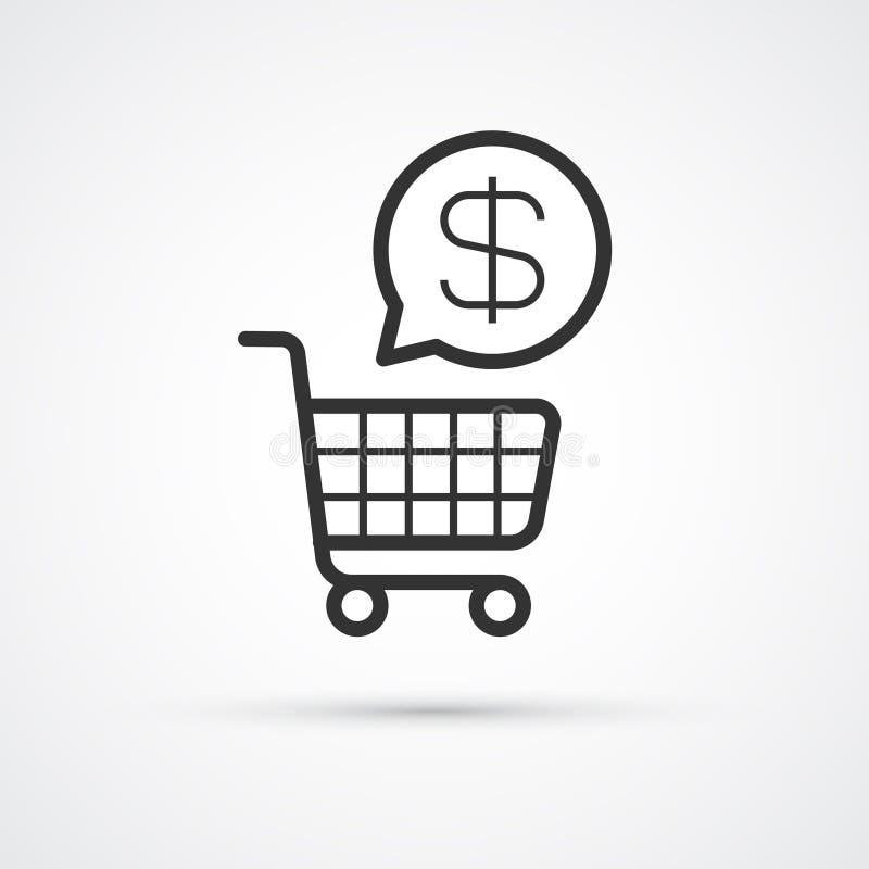 Shopping Cart flat line trendy black icon. Vector eps10 royalty free illustration