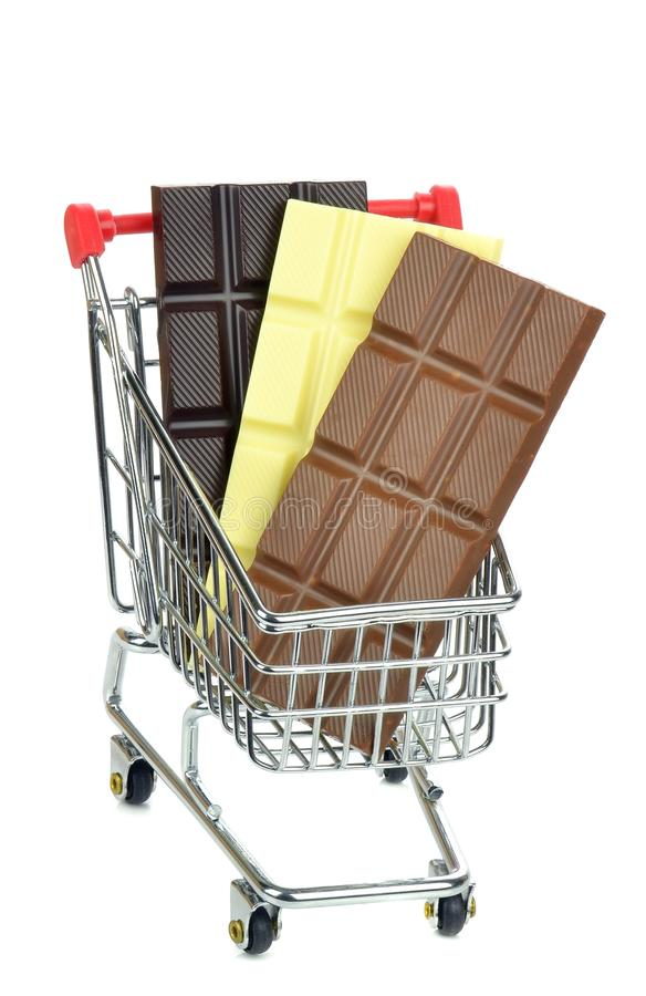 Download A Shopping Cart Trolley With Bars Of Chocolate Stock Image - Image: 32899901