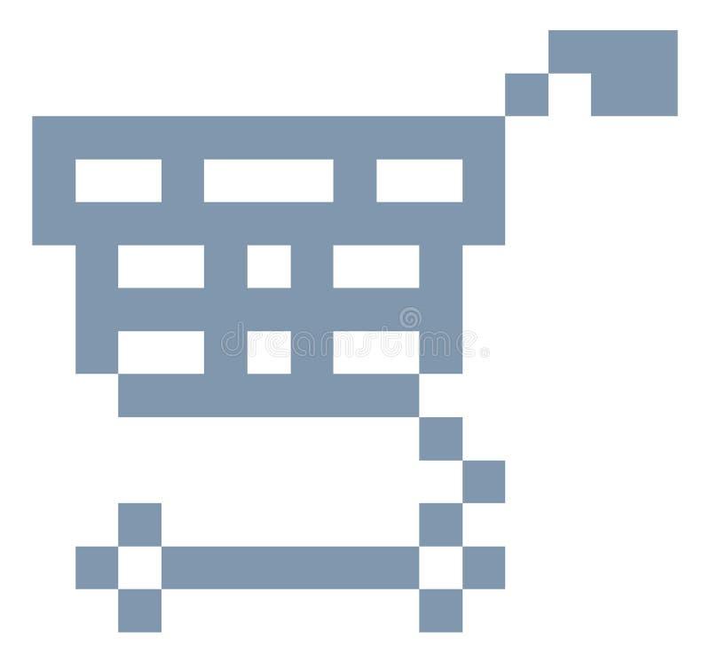 Shopping Cart Trolley Pixel 8 Bit Game Art Icon vector illustration