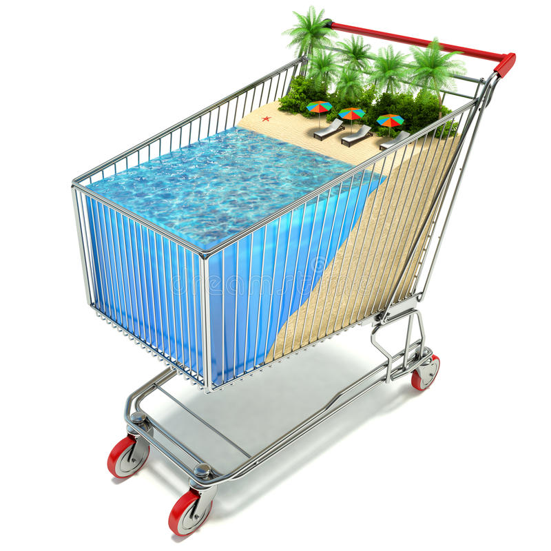 Shopping cart and tropical beach. holiday concept stock illustration