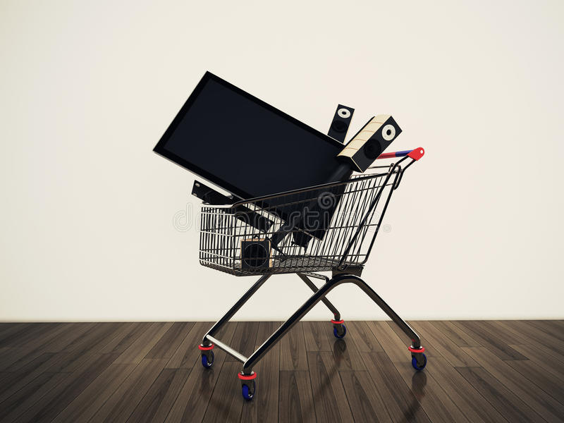 Shopping cart TV stock illustration