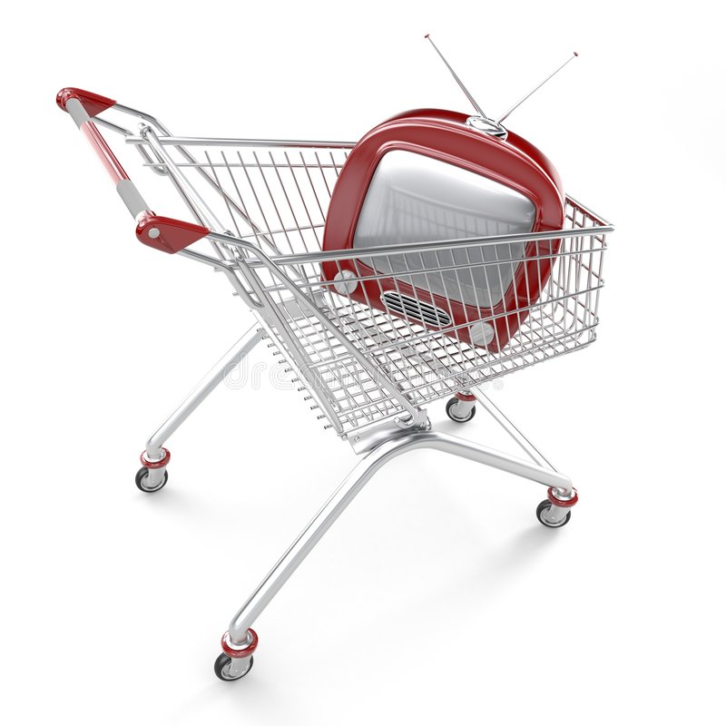 Download Shopping cart with TV stock illustration. Image of anniversary - 3598023