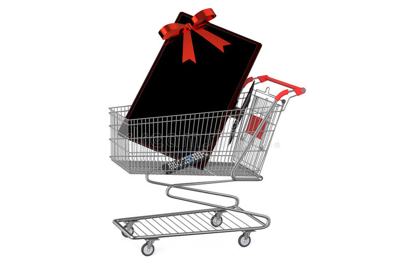 Shopping cart with TV set. Isolated on white background vector illustration