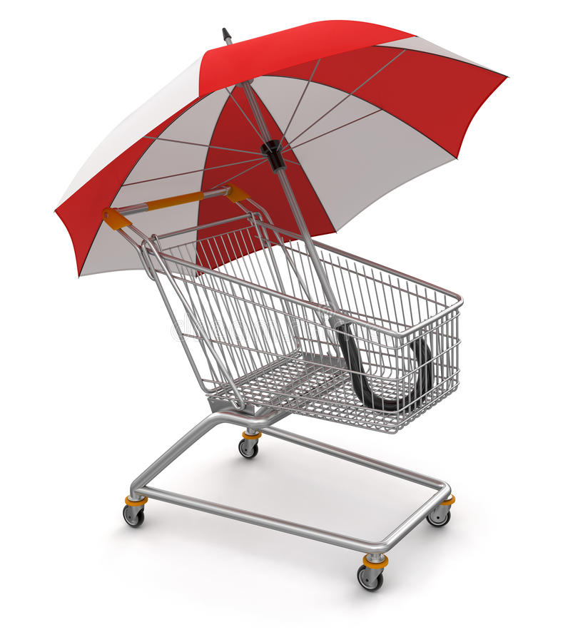 Shopping Cart with Umbrella  (clipping path included)