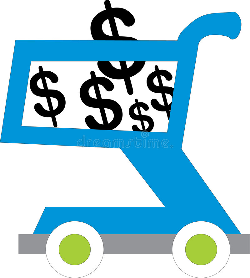Shopping cart with usd inside vector illustration