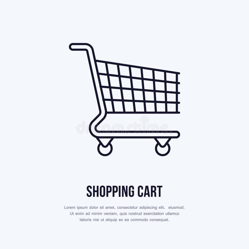Shopping cart vector flat line icons. Retail store supplies, trade shop, supermarket equipment sign. Commercial trolley vector illustration