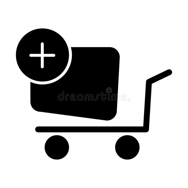 Shopping cart vector icon. Black and white Add product to cart illustration. Solid linear icon.
