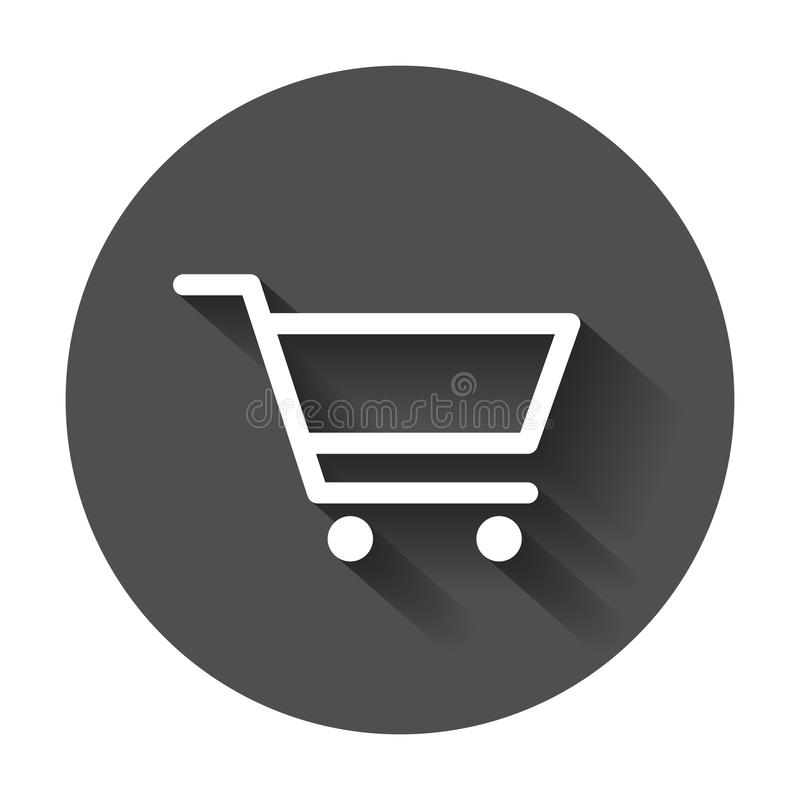 Shopping cart vector icon. Flat illustration on black round back. Ground with long shadow vector illustration
