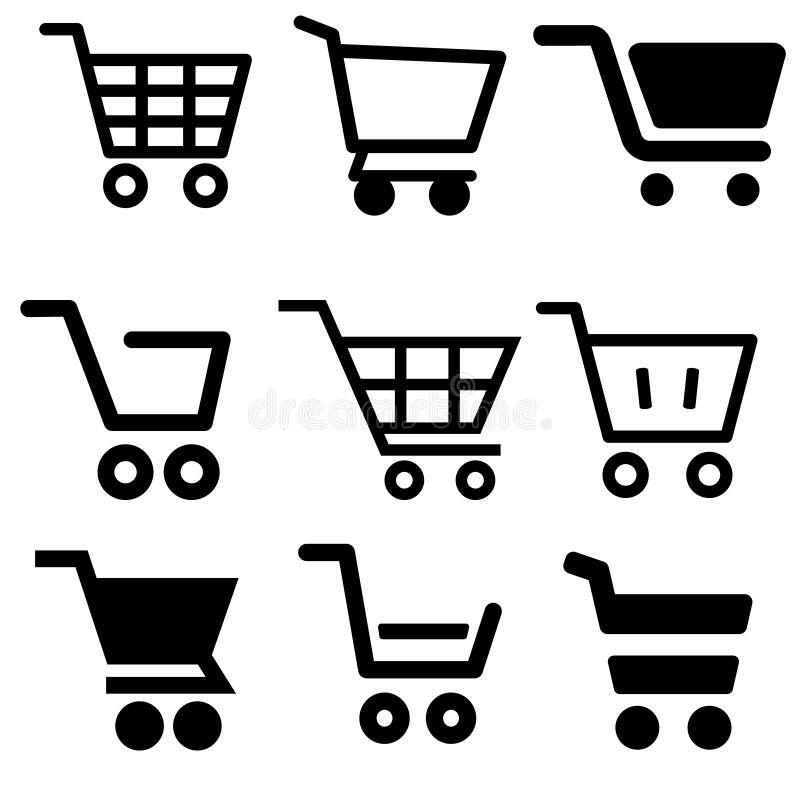 Shopping Cart vector icon set. Shop illustration symbol collection. basket sign or logo. For web sites or mobile stock illustration