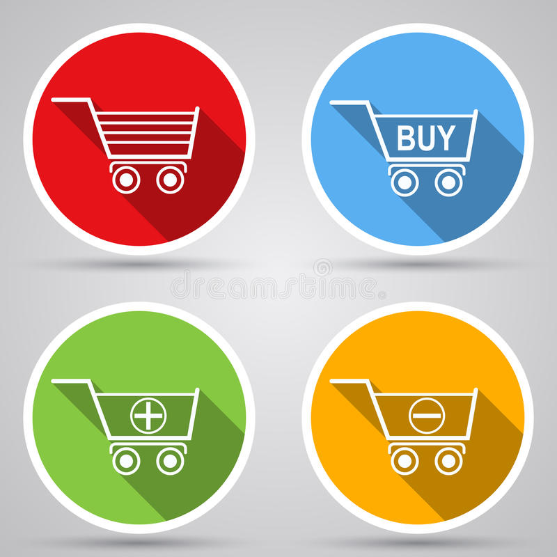 Shopping cart vector icons royalty free illustration