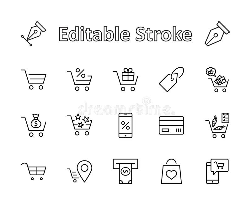 Shopping Cart Vector Line Icons Set: Money, ATM, List Products, Vegetables, Bank Card, Terminal, Bag, Favorite Shopping royalty free stock photo