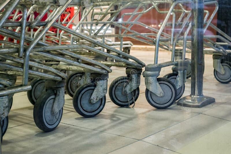 Shopping cart wheel royalty free stock photography