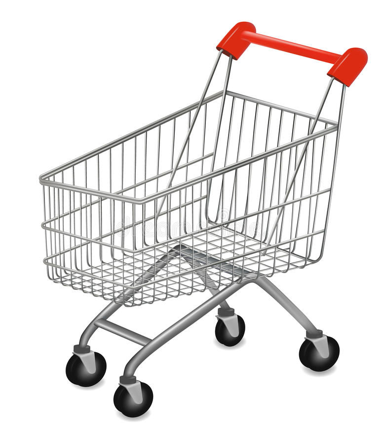 Shopping cart on the white. Vector illustration of a shopping cart on the white royalty free illustration
