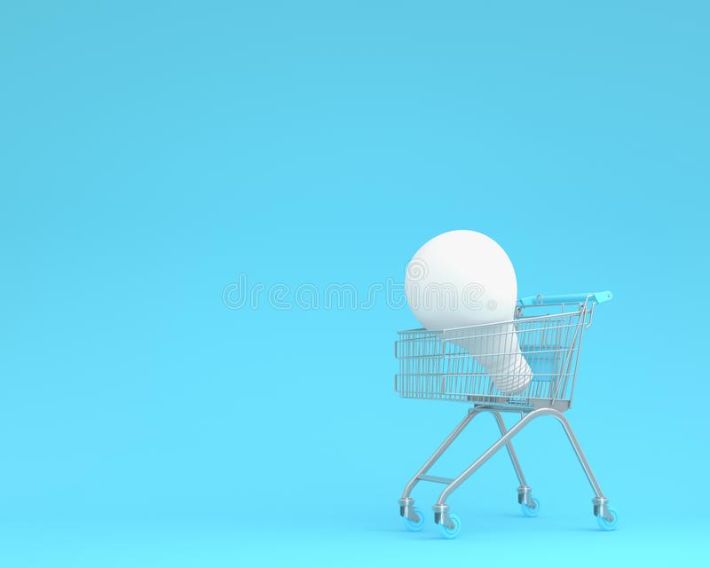 Shopping cart with white light bulbs on blue color background. m. Inimal business ideas. concept of retail consumers and shoppers looking for bargains and low royalty free stock photos