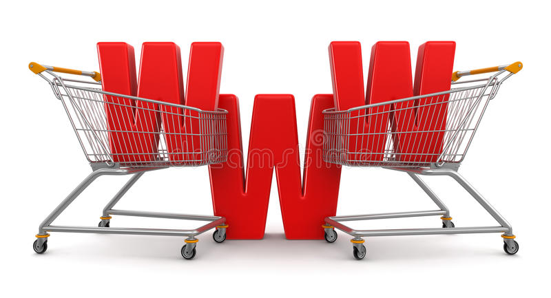 Download Shopping Cart And WWW  (clipping Path Included) Stock Photography - Image: 34207992