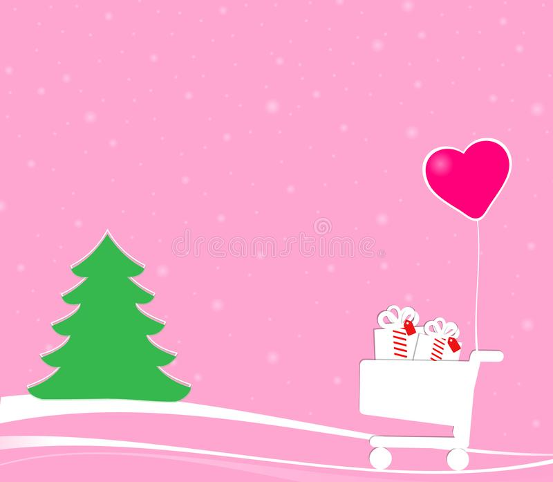 Christmas scene with shopping cart and green tree royalty free stock photo