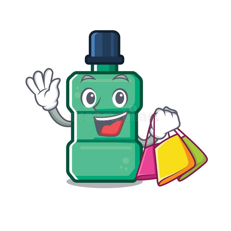 Shopping cartoon mouthwash in the a bathroom stock illustration
