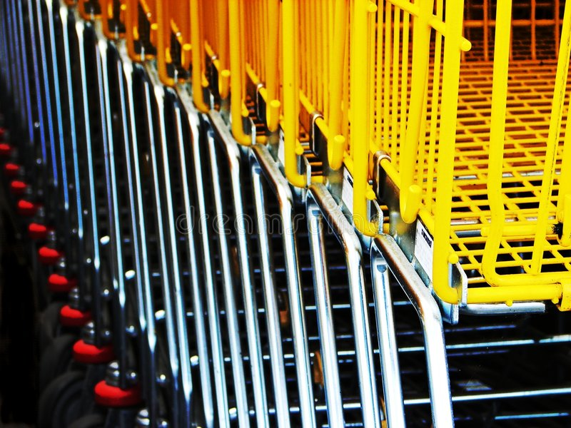 Download Shopping carts stock image. Image of yellow, purchase, supermarket - 195489