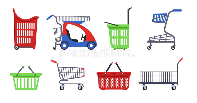 Shopping carts and baskets supermarket trolleys vector stock illustration