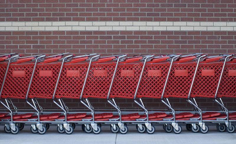 Shopping Carts In A Row Stock Images