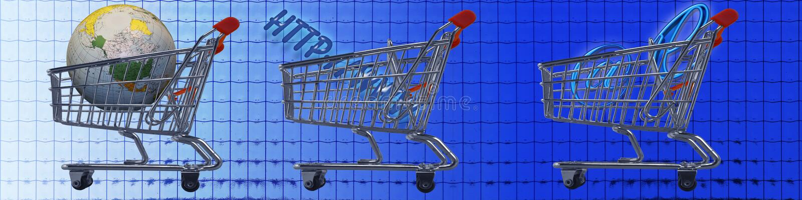 Shopping carts WW e-commerce. This banner / header has a background with grid patterns. Each of the shopping carts carries different Internet related goods, like royalty free illustration