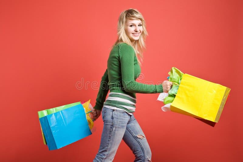 Shopping caucasian girl stock photos