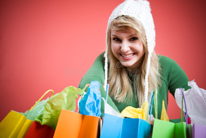 Shopping caucasian girl royalty free stock image