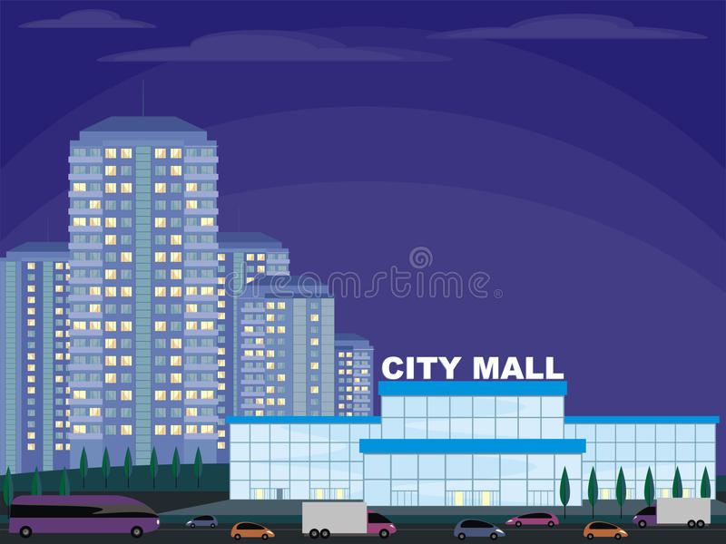 The shopping center. Abstract image of a modern city. Night cityscape with tall buildings, skyscrapers and shopping center. Vector background for design stock illustration