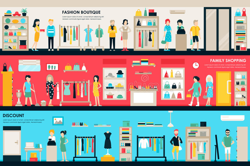 Shopping Center and Boutique Rooms flat shop interior concept web. Fashion Clothes Customers Mall Retail Purchase royalty free illustration