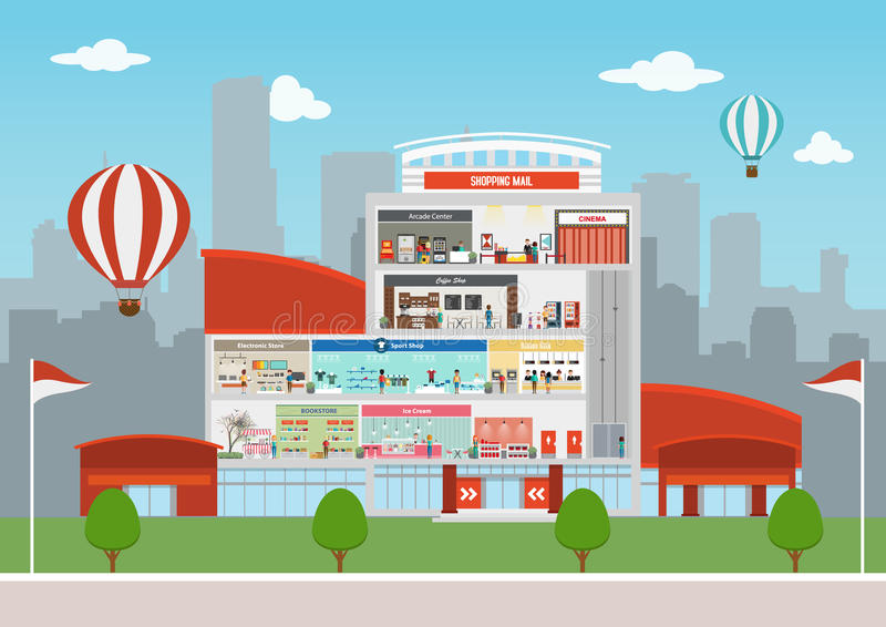 Shopping center building vector illustration
