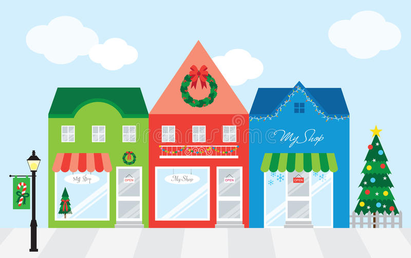 Shopping Center with Christmas Decoration vector illustration