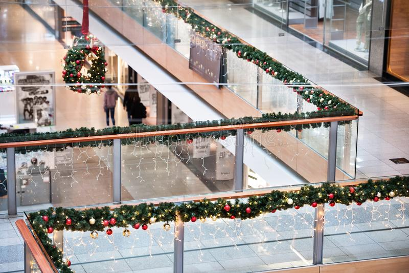 Shopping center at Christmas time. stock photography