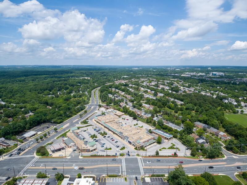Shopping center during Covid-19 pandemic. Gaithersburg, Md. - June 28, 2020: Aerial view of The Shops at Potomac Valley in the Quince Orchard area of royalty free stock images