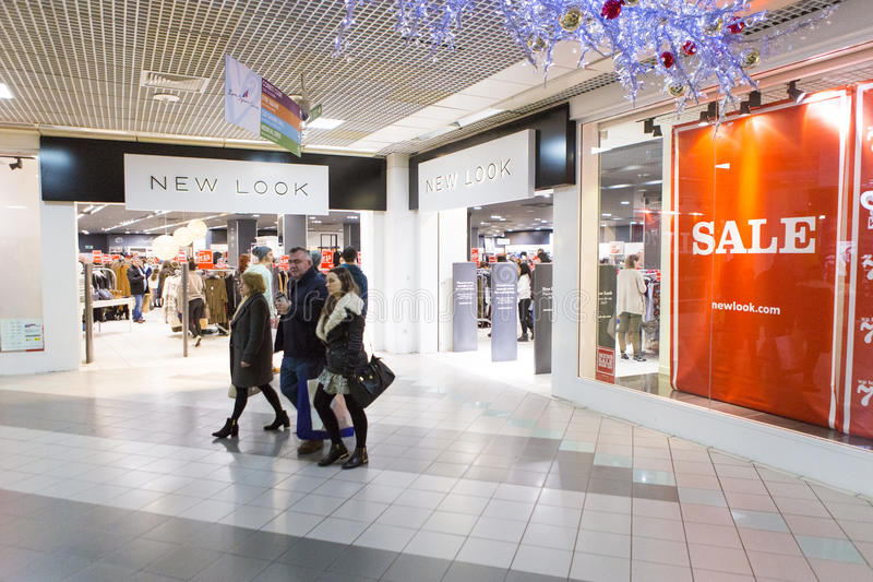 Shopping center. Holly day shopping fever, interior of a shopping center from Galway, Ireland royalty free stock images