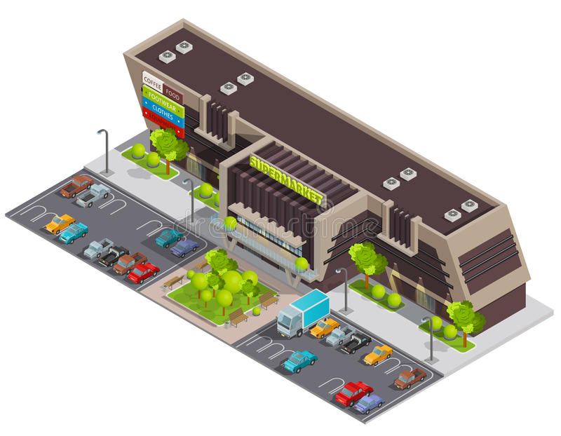 Shopping Center Mall Complex Isometric Composition stock illustration