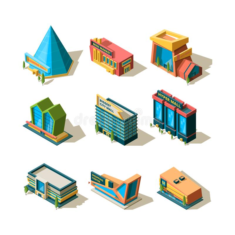 Shopping center. Mall retail commercial complexes architectural modern building store isometric vector stock illustration