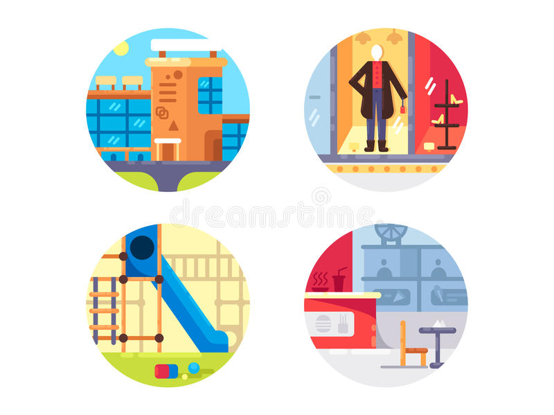 Shopping center set icons vector illustration