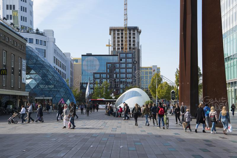 The shopping centre of Eindhoven with shopping people, one of the largest dutch royalty free stock images